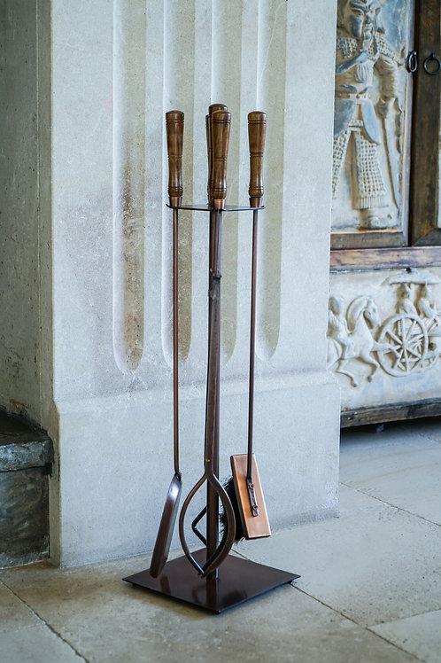 Antique Copper Fire Set