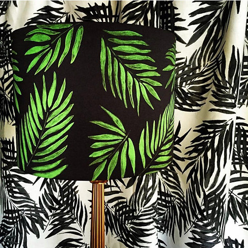 Black & Green Botanical Leaf Lampshade