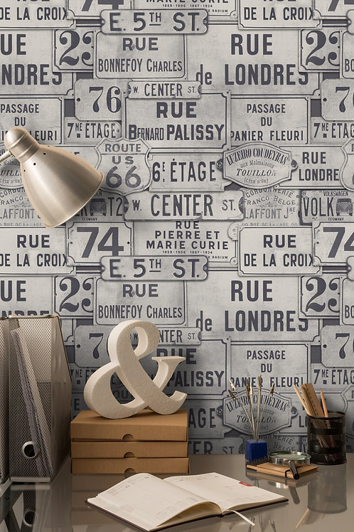 Mind the Gap - Vintage Signs Neutral Wallpaper