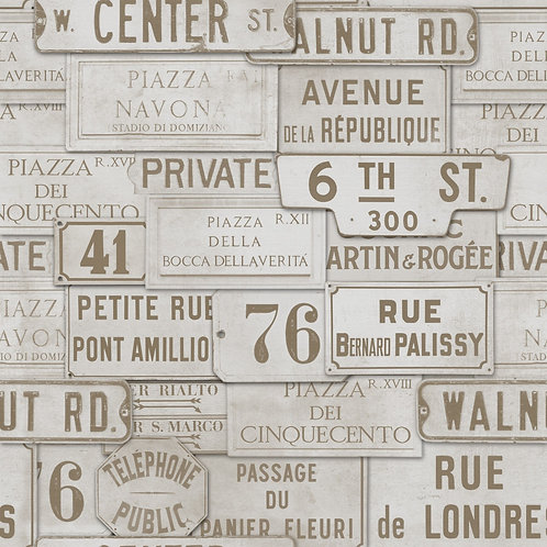 Mind The Gap - Vintage Signs Taupe Wallpaper