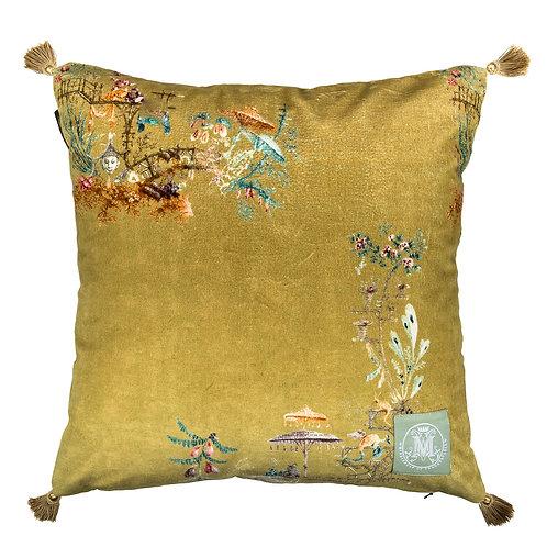 Mind the Gap Chinoiserie Velvet Cushion