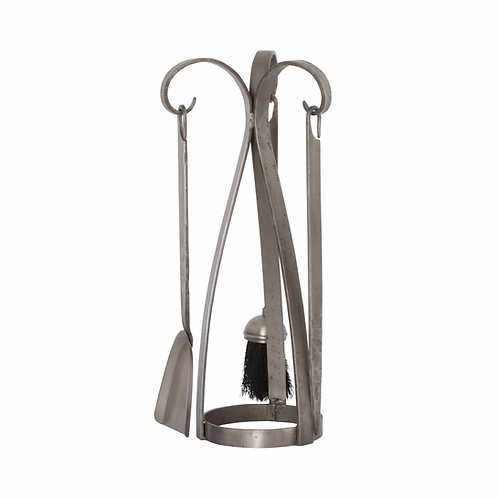 Contemporary Fire Companion Set In Antique Pewter