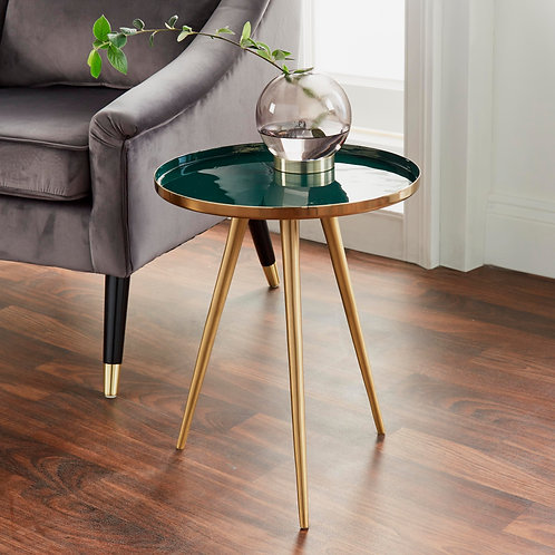 Side Table Green Enamel Tray