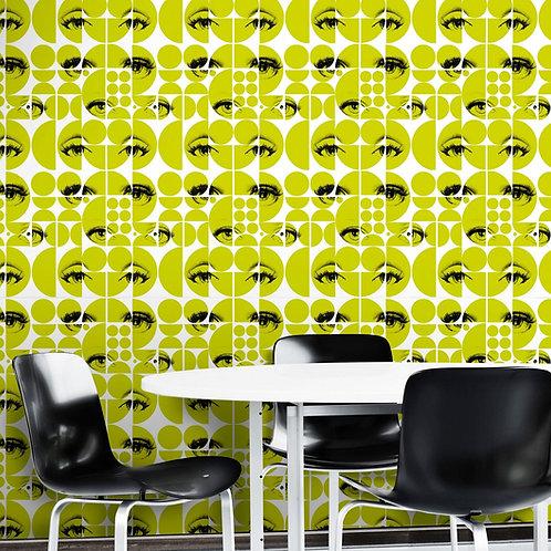 Mind the Gap - Eyes and Circles Green Wallpaper