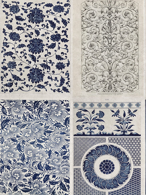 Mind The Gap - Chinese Pattern Blue Wallpaper