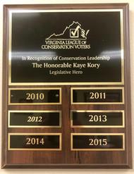 "Virginia League of Conservation Voters ""Legislative Hero"" Award"