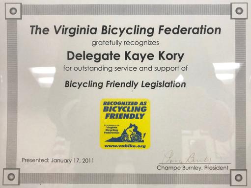 Bicycling Friendly Legislation Recognition, 2011