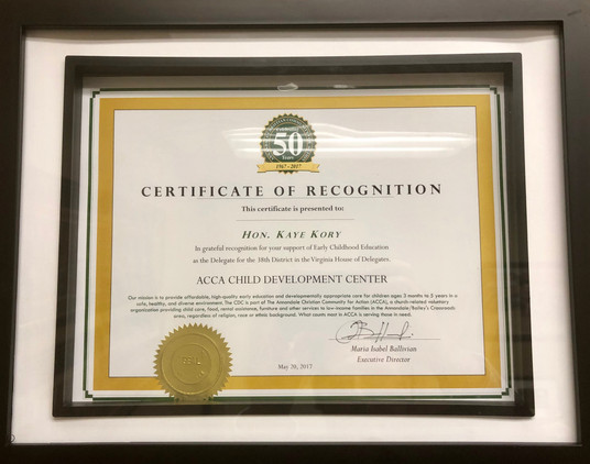 Certificate of Recognition from Annandale Christian Community Action (ACCA) Child Development Center, 2017