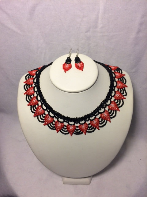 Dark/Light Red, Pink and Black Floral Beaded Necklace and Earrings Set