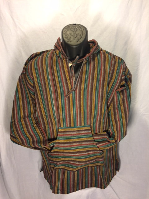 Drawstring Hoodie with Tan, Brown, Green and Burgundy Stripes