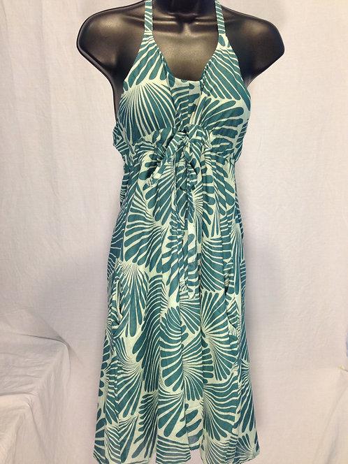 Teal Botanical Halter Dress