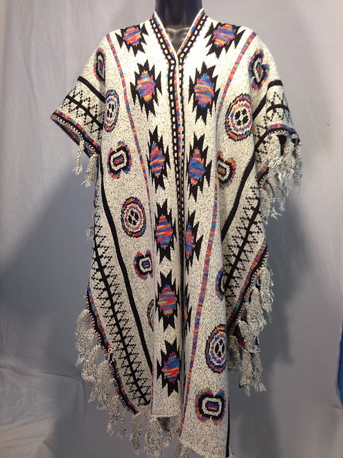 Tribal Inspired Poncho with Fringe