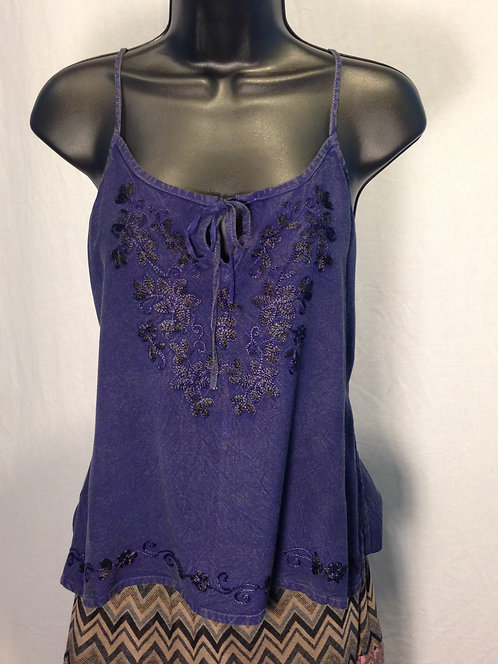 Deep Periwinkle Embroidered Tank Top