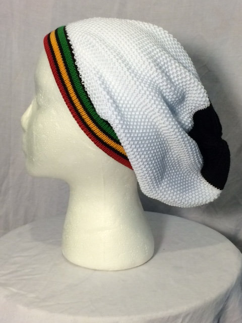 White Tam with Green, Gold Red Stripes and Black Trim