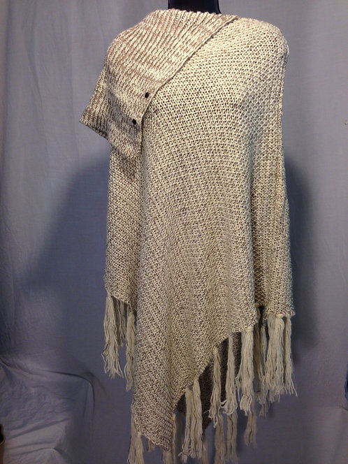 Beige Knitted Poncho with Cowl Neck & Fringe