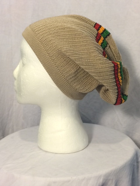 Tan Tam with Green, Gold and Red Stripes and Black Trim