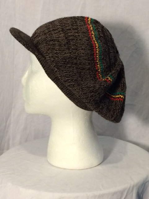 Dark Gray Flecked Crown with Peak and Green, Gold and Red Stripes