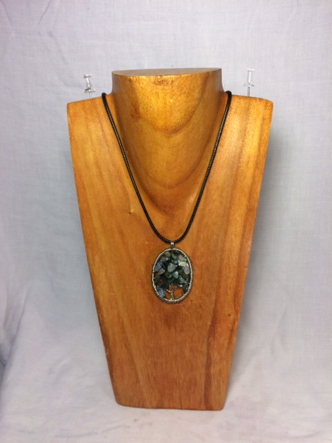 Green Agate Tree of Life Necklace with Circular Stainless Steel Setting