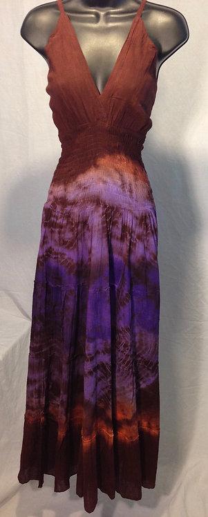 Dark Maroon, Purple and Light Orange Tie Dye Halter Long Dress