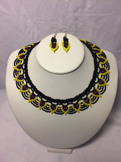 Yellow, Blue, Burgundy and Black Floral Beaded Necklace and Earrings Set