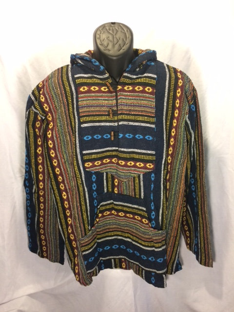Button Hoodie with Navy, White, Yellow, Burgundy and Olive Stripes