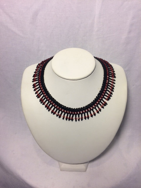 Garnet and Black Beaded Necklace with Fringe Neckline