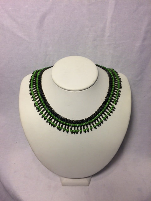 Green and Black Beaded Necklace with Fringe Neckline