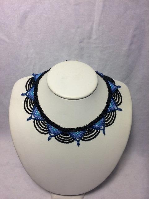 Dark/Light Blue and Black Beaded Necklace with Geometric Neckline