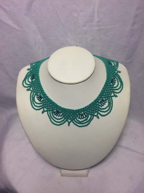 Teal and Iridescent Blue Beaded Necklace with Geometric Neckline