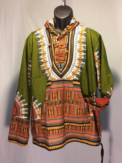Green Daishiki Hoodie with Orange and White Pattern