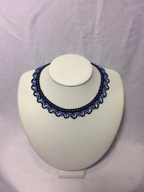 Blue and Black Beaded Necklace with Rounded Neckline