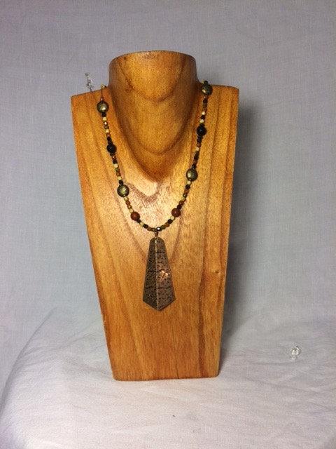 Beaded Copper Pendant Necklace