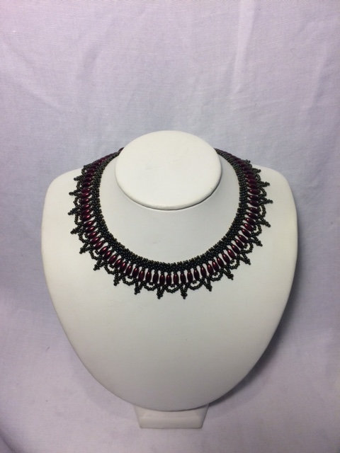 Burgundy and Black Beaded Necklace with Chandelier Neckline