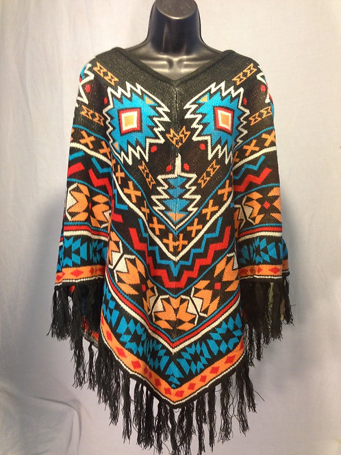 Brown, Blue, Red & Orange Poncho