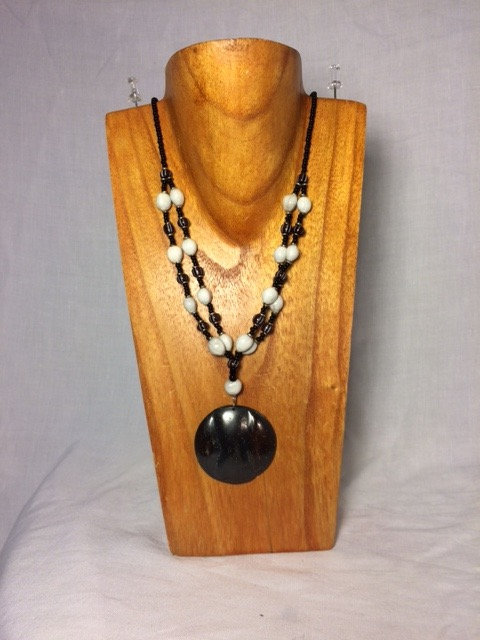 Two Layer Beaded Necklace with Wooden Pendant