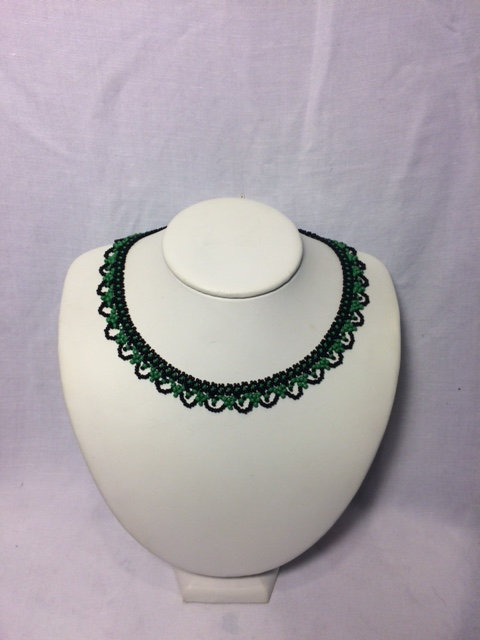 Green and Black Beaded Necklace with Rounded Neckline