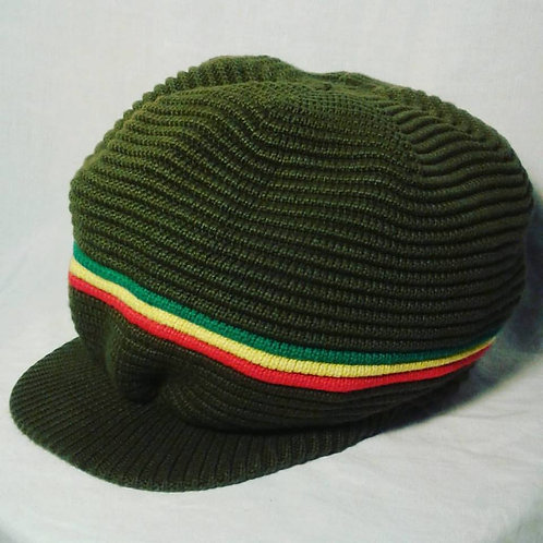 Dark Green Crown with Green, Gold and Red Stripes