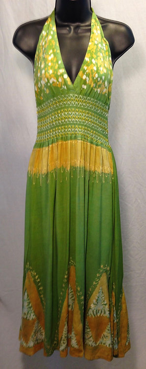 Green and Yellow Halter Dress