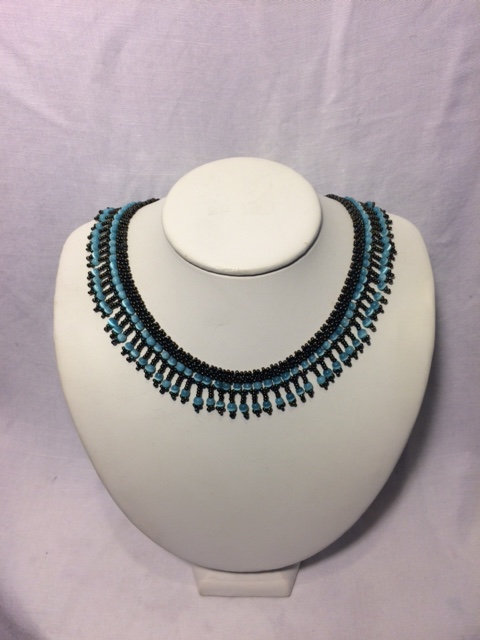 Turquoise and Black Beaded Necklace with Fringe Neckline