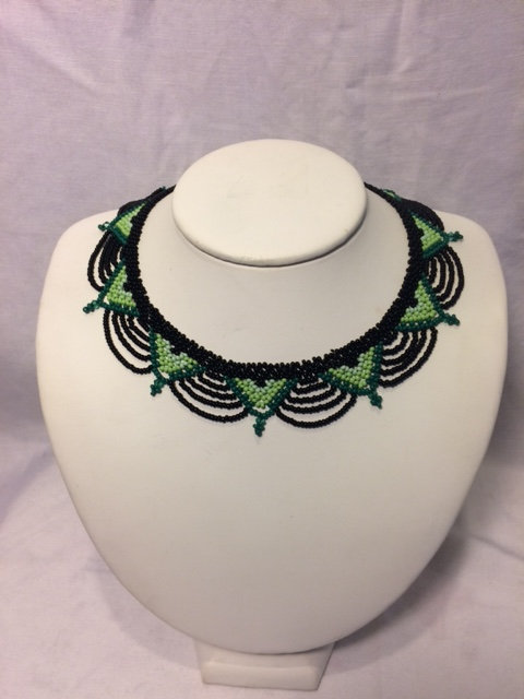 Dark/Light Green and Black Beaded Necklace with Geometric Neckline