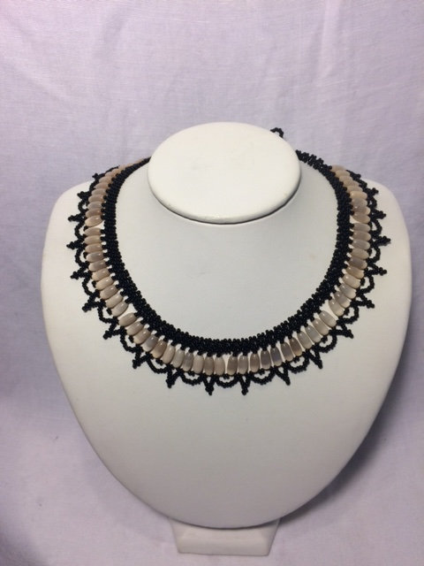 Cream and Black Beaded Necklace with Chandelier Neckline