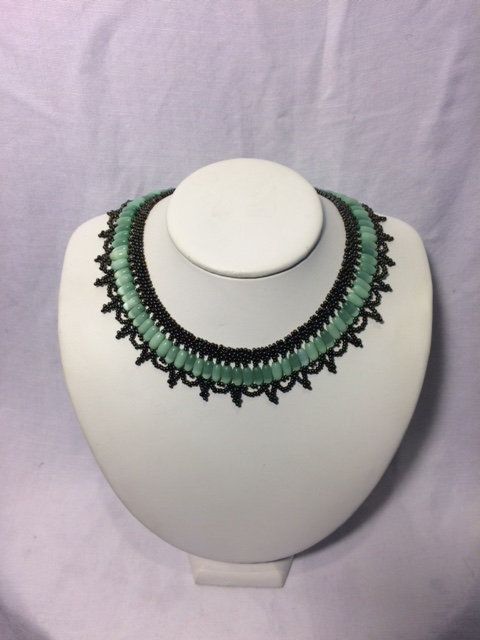 Sage and Black Beaded Necklace with Chandelier Neckline