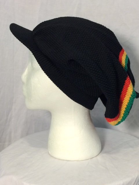 Black Crown with Peak and Green, Gold and Red Stripes