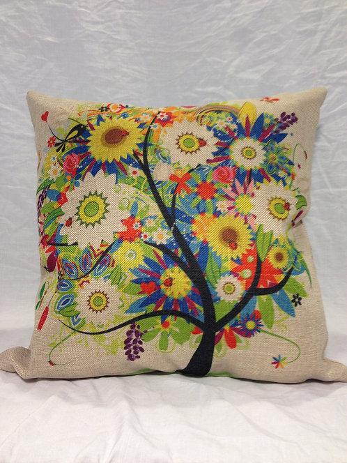 Canvas Flower Tree Pillow
