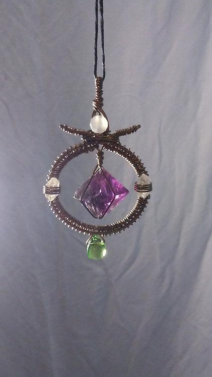 Bronze Wire Wrap Necklace with Purple Fluorite, Quartz, Moonstone and Peridot