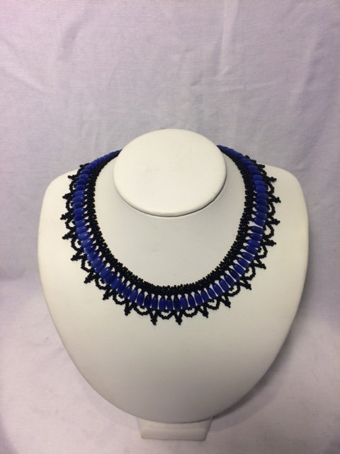 Blue and Black Beaded Necklace with Chandelier Neckline