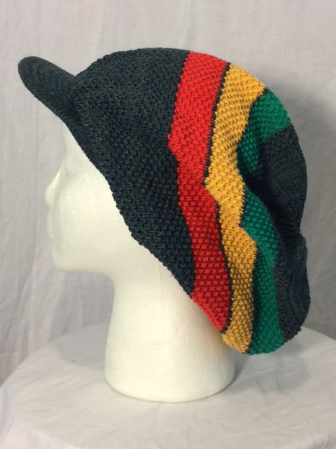 Dark Gray Crown with Green, Gold and Red Stripes