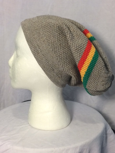 Gray Tam with Green, Gold and Red Stripes