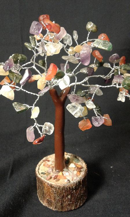 Multi-Stone Tree of Life on Wooden