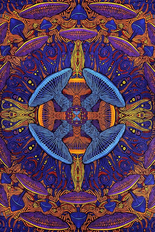 3D Magic Mushroom Tapestry